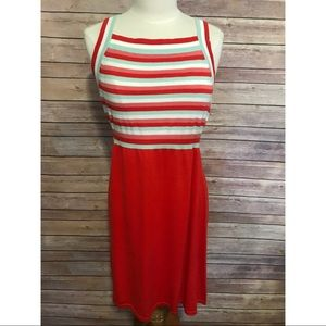 NEW modcloth red blue white stripe knit dress